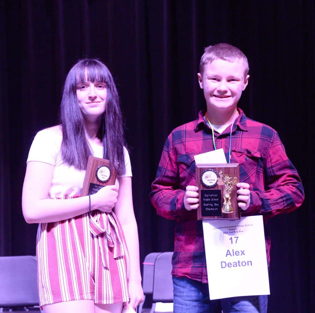 Jacelyn Griffith (left) runner-up and Alex Deaton, spelling bee winner.